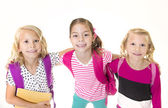 Group of Cute little girls going to school — Stock Photo
