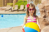 Little swimmer ready to play in the Pool — Stock Photo