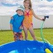 Summertime fun in the back yard — Stock Photo