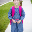 Cute Little Girl Walking to School — Stock Photo