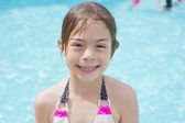Cute little swimmer girl — Stock Photo