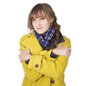 Freezing Cold Young Woman — Stock Photo