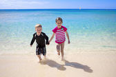 Happy Kids on a Beach — Stok fotoğraf