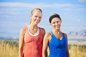 Portrait of Two women ready for a fitness workout — Stock Photo