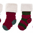Row of Knitted Christmas Stockings — Stock Photo
