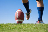 Football kick low angle — Stock Photo