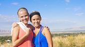 Portrait zweier Frauen, die bereit für ein Fitness-workout — Stockfoto