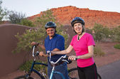 Active Senior Couple on a Bike ride in Southwest U.S. — Stock Photo