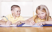Elementary School Students doing Homework — Foto Stock