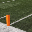 Football field close up of touchdown pylon — Foto Stock #40855381