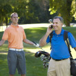Stock Photo: Talking on cell phone while playing golf is annoying