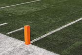Football field close up of touchdown pylon — Stock Photo