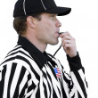 Football Referee Blowing Whistle — Stock Photo #40860159