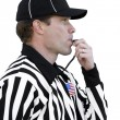 Stock Photo: Football Referee Blowing Whistle