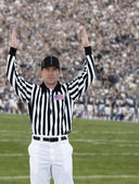 Football Referee signaling touchdown — Stock Photo