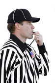 Football Referee Blowing Whistle — Stock Photo
