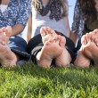 Barefoot Female Feet outdoors — Stock Photo #41217127