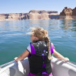 Stock Photo: Girls boating at Lake Powell
