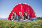 Three Friends Camping — Stock Photo