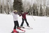 Women skiing — Photo