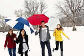 People under their umbrellas to stay out of the rain or snow — Stock Photo
