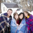 Stock Photo: Young Friends Bundle Up