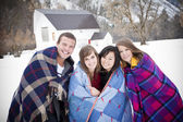 Young Friends Bundle Up — Stock Photo
