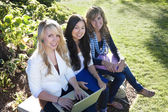 Group of Young, attractive female students outside studying — Stock Photo