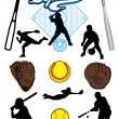 Stock Vector: Collection of  softball elements