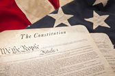 American Constitution on a flag — Stock Photo