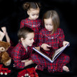 Children in the night before christmas — Stock Photo
