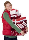 Christmas shopping kvinna — Stockfoto