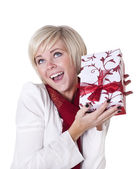 Woman Excited about Her Christmas Present — Stock Photo