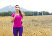 Beautiful Woman Jogging outdoors — Stock Photo
