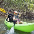 Family kayaking through forest — Stock Photo #46222485