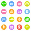 Travel icons in color circles — Stock Vector