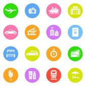 Icone di viaggio nei cerchi di colore — Vettoriale Stock