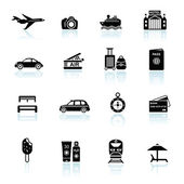 Travel icons black on white — Stock Vector