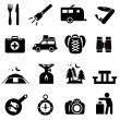 Camping icons black on white — Stock Vector