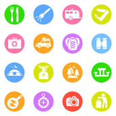 Camping icons in color circles — Stock Vector