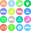 Traffic application icons in color circles — Stock Vector