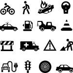 Traffic icons black on white — Stock Vector #29136211