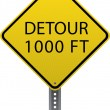 Stock Vector: Detour 1000 ft sign