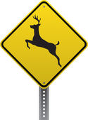 Deer crossing sign — Stok Vektör