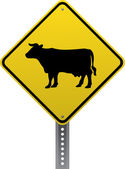 Cattle crossing sign — Stock Vector