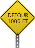Detour 1000 ft sign — Stock Vector