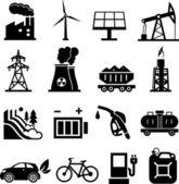 Energy icons black — Stock Vector