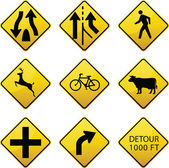 Warning traffic signs icons — Stock Vector