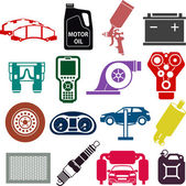 Car service icons in color — Stock Vector