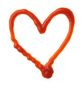 The heart is made of ketchup — Stock Photo